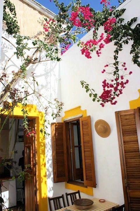 PATIO bougainvilliers, tour de fenêtres jaune et meubles teck parfait