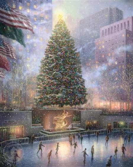 Thomas Kinkade, Rockefeller Center Christmas TreeChristmas Time, Thomas Kincade, Rockefeller Center, Art, Ice Skating, New York, Thomas Kinkade, Newyork, Christmas Trees