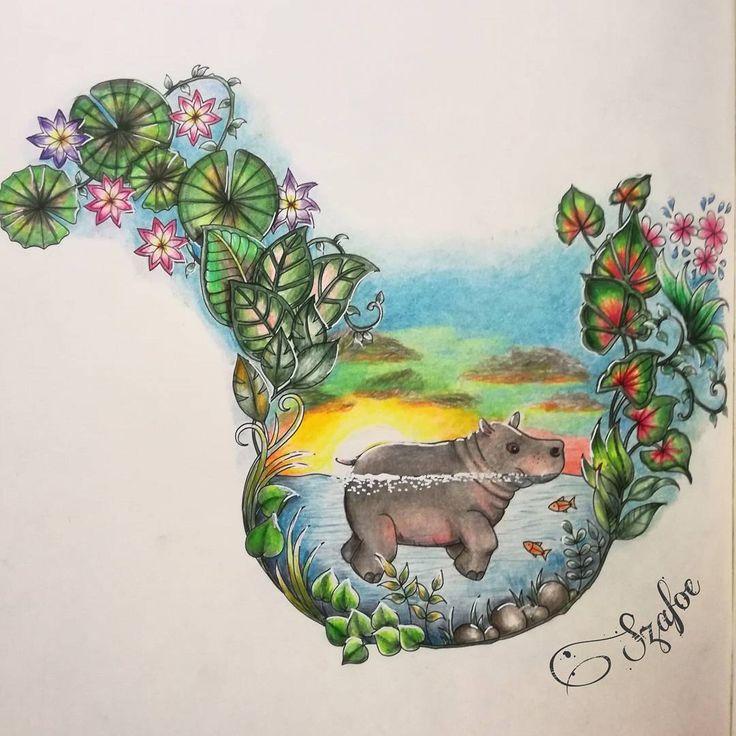"74 Likes, 8 Comments - Éva Szabóné Fodor (@szafoe) on Instagram: ""#johannabasford #magicaljungle #fabercastell #polychromos #posca #adultcoloring #coloringbooks…"""