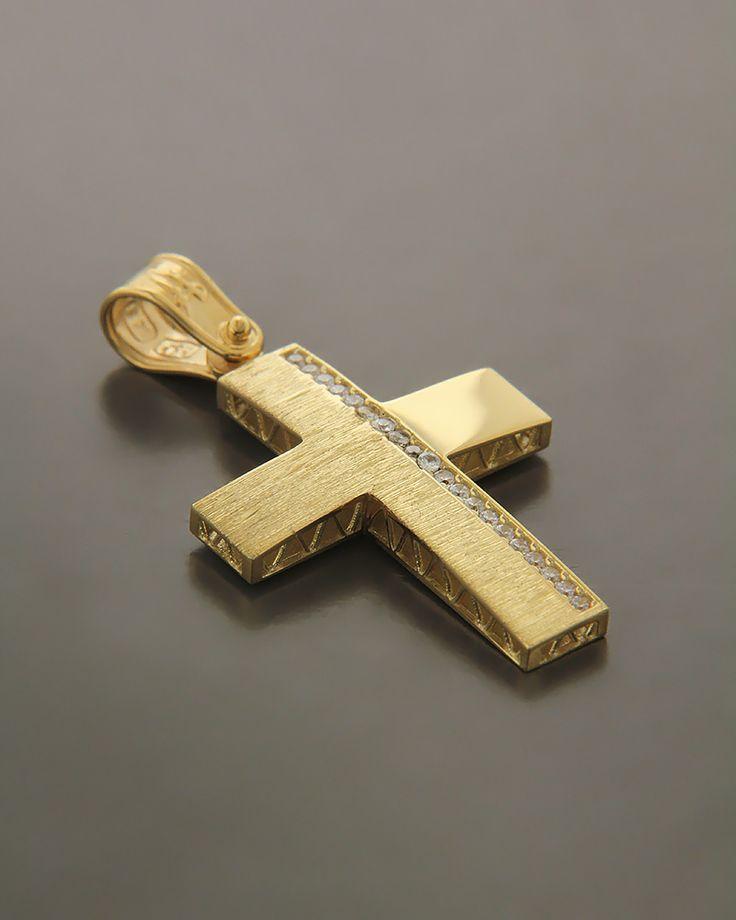 Σταυρός Χρυσός Κ14 με ζιργκόν | eleftheriouonline.gr
