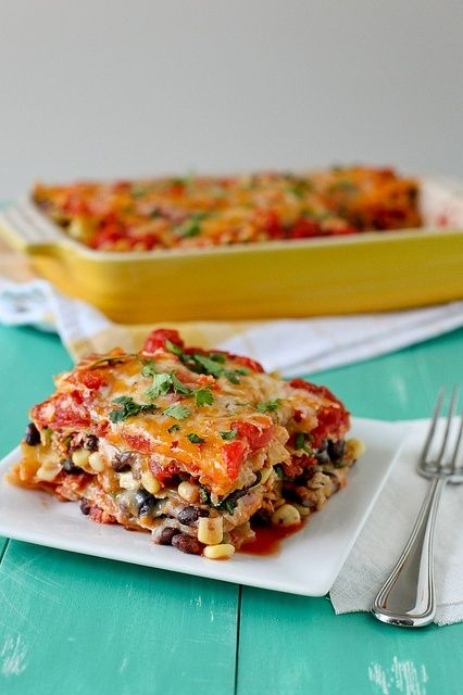 Mexican Lasagna... just made this for dinner... waited until Skip said it was awesome before I told him it was vegetarian.. YUMO!