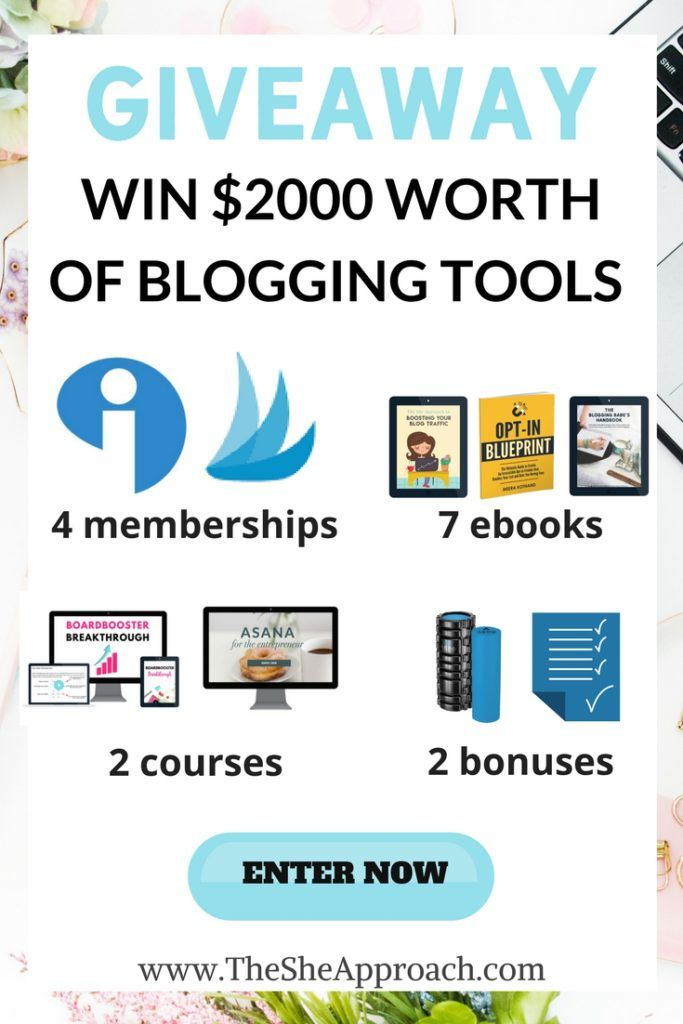 A giveaway for bloggers. Grow your blog with these tools, resources, and ebooks. Blogging tips & freebies. Enter the giveaway today!