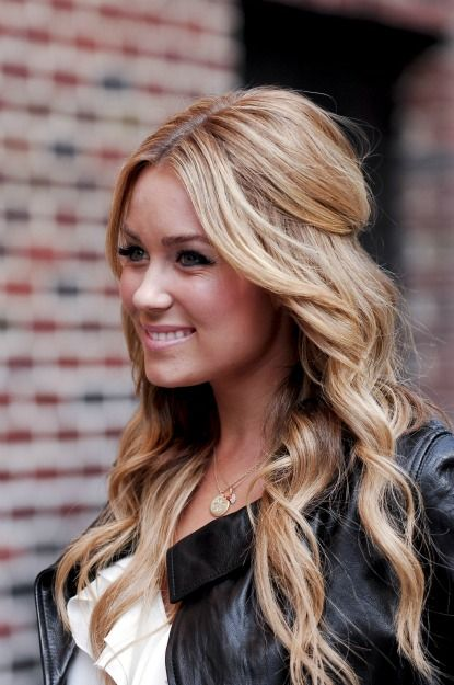 Lauren Conrad Wedding Hair - medium long blonde hair with side bangs