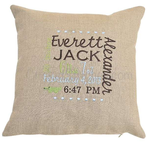 Cricket Stitches - Embroidered Birth Announcement Pillow