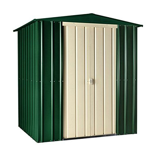 Lotus 6'x5' Apex Metal Shed Heritage Green Cream Sheds Storage Garden