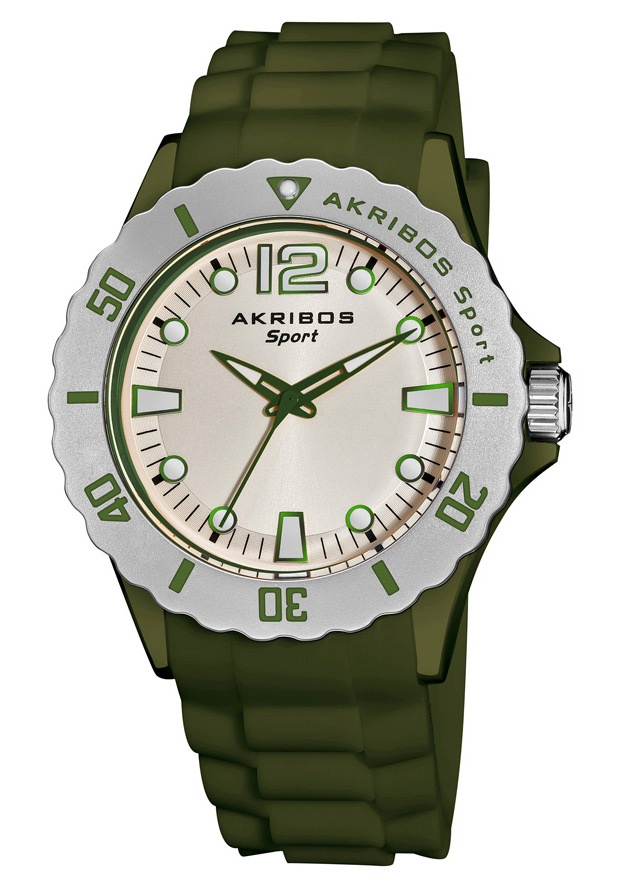 Price:$69.99 #watches Akribos XXIV AK536GN, This Akribos XXIV stylish and trend-setting watch features a glow in the dark dial. The silicon strap secures with a tang buckle clasp. This sporty watch makes an ideal gift for men or women.