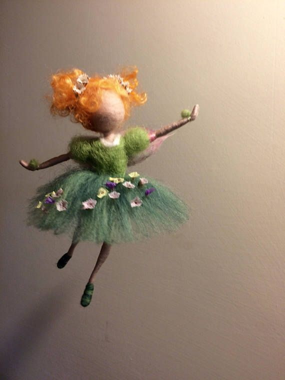 Needle felted fairy, Waldorf inspired, Felted fairy, Four seasons, Spring, Green Fairy,Home decor, Art doll, Gift, Children room