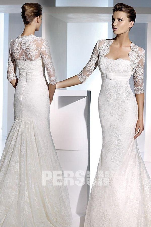 Boléro pour robe de mariage classique manches mi-longues appliques en dentelle (plusieurs couleurs)