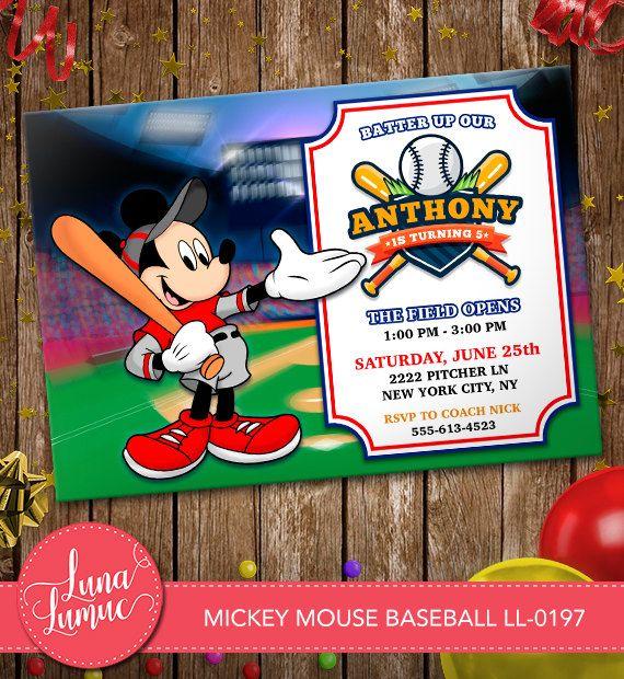 MICKEY MOUSE Baseball Invitation Mickey Mouse Card Party Invitation Birthday Card Mickey Mouse Disney LL-0197