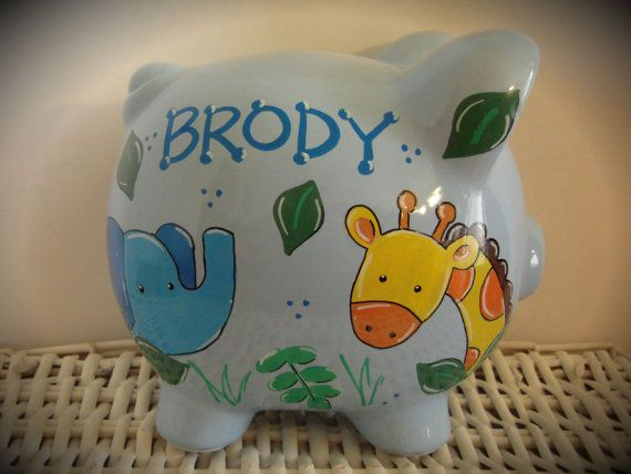 Personalized+Hand+Painted+Piggy+Bank+With+by+thepaintedpiggy,+$30.00