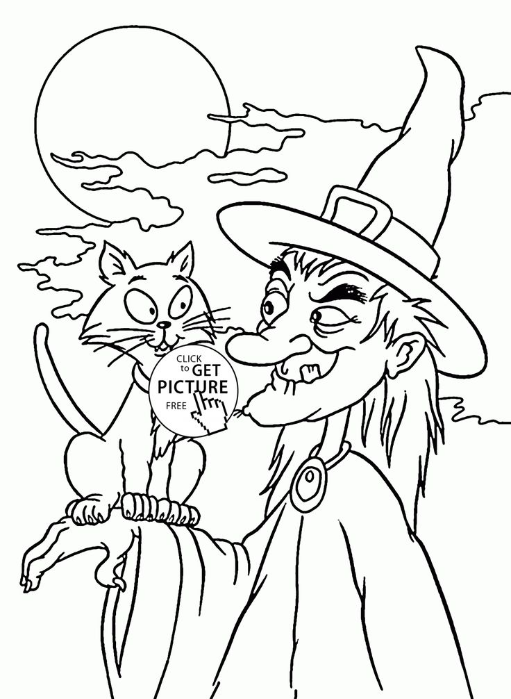halloween witch and black cat coloring pages for kids halloween printables free - Halloween Black Cat Coloring Page
