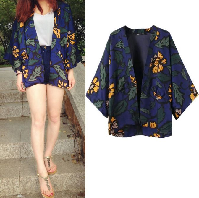 Womens Japanese Cherry Blossoms Printed Kimono Bat Sleeves Loose Jacket Shawl J1