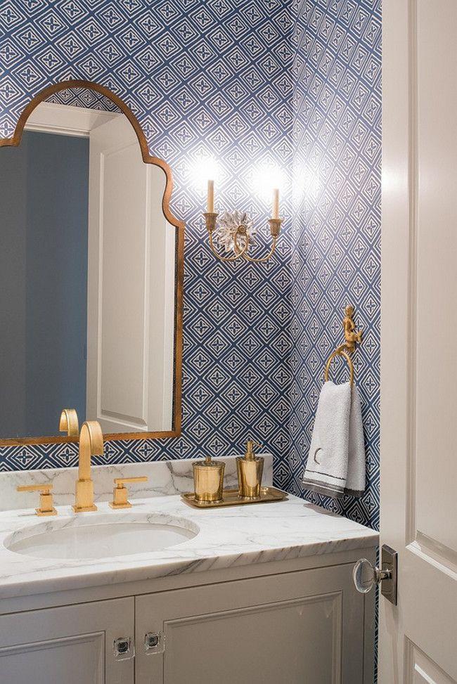 Powder room. Blue and white Powder room wallpaper. Blue and white wallpaper. Sconces are from Visual Comfort. L. Lumpkins Architect