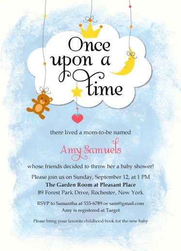 Baby Shower Invitations   Once Upon A Time By Bella Expressions Linda Birtel