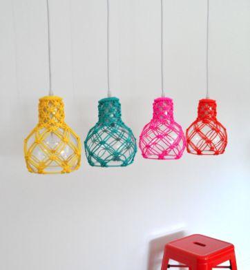 PLAYFUL MACRAME. Macrame Pendant Lights Designed by Warp & Weft Sold through Lights, Lights, Lights www.warp-weft.com.au