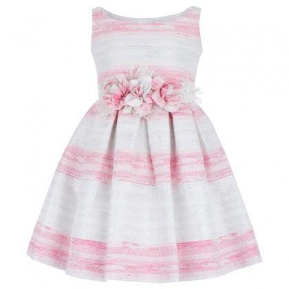 Pink and White Silver Stripe Vestido