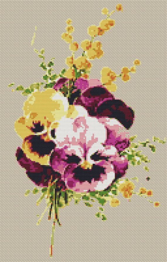 Modern cross stitch pattern Pansies. by CrossStitchObsession