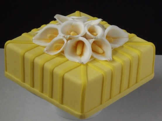 Yellow Square Cake with Calla Lilies