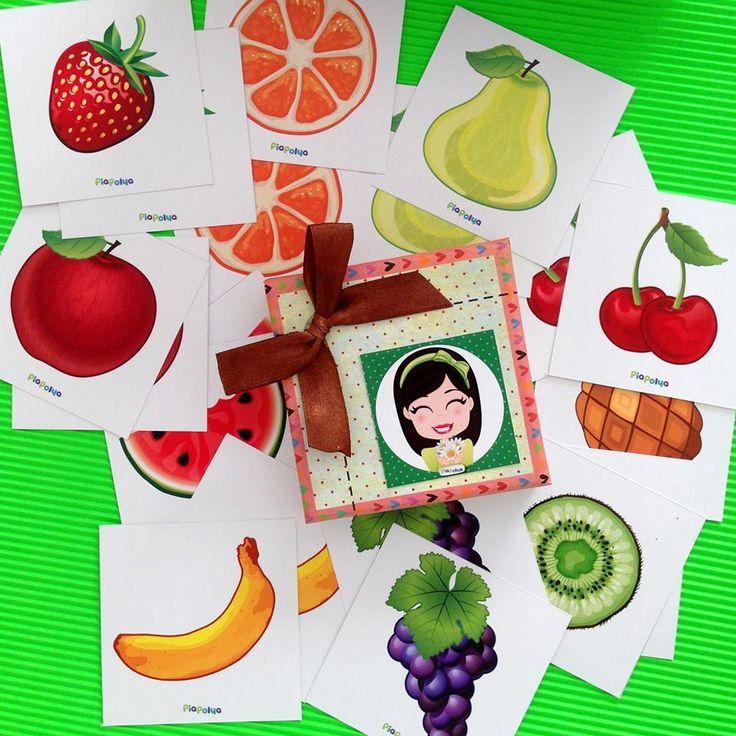 """""""Pia Polya Meyve Görsellerini Eşleştirme Kartları"""" 12 ay ve 36 ay yaş arası çocuklar için uygundur."""