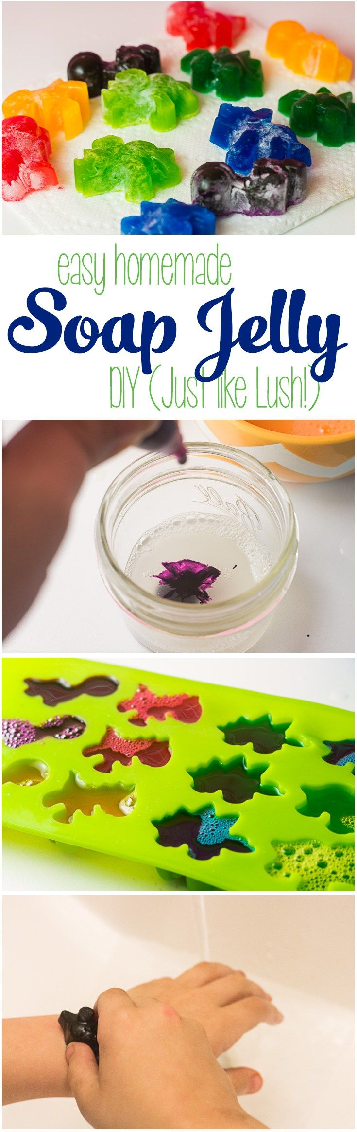 If you love Shower Jelly like the kind you find at LUSH, you'll love this easy-to-make DIY Soap Jelly that is as fun to make as it is to bathe with! It's nice and cool for showering off in the summertime, and a fun way to get clean after playing in the mud and dirt. What kid wouldn't love their own jelly soap?   DIY Soap Jelly   Jelly Soap Homemade   How to Make LUSH Shower Jelly  