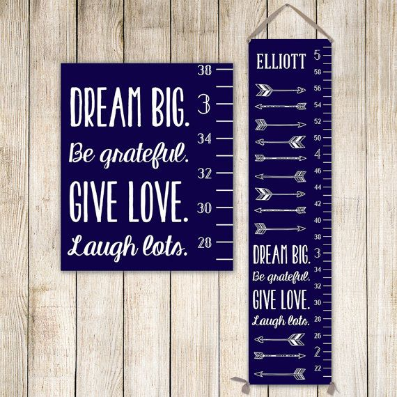 Modern Growth Chart Personalized Canvas Growth Chart Grey