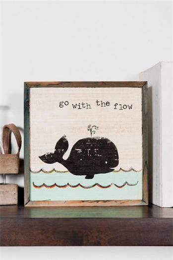 Vintage Antique Look Whale Wall or Shelf Art