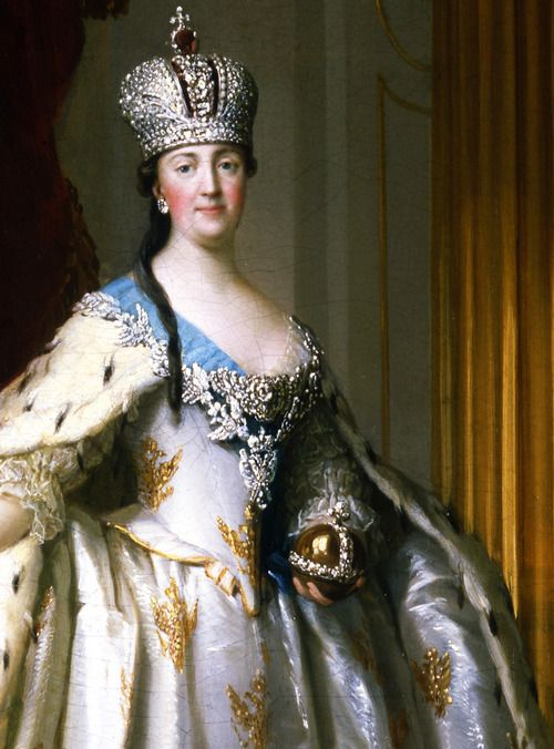 Catherine the Great in her Coronation Robe, 1778-1779. Detail. Compare to portrait of Sophia Dorothea of Wurttemberg nearby.