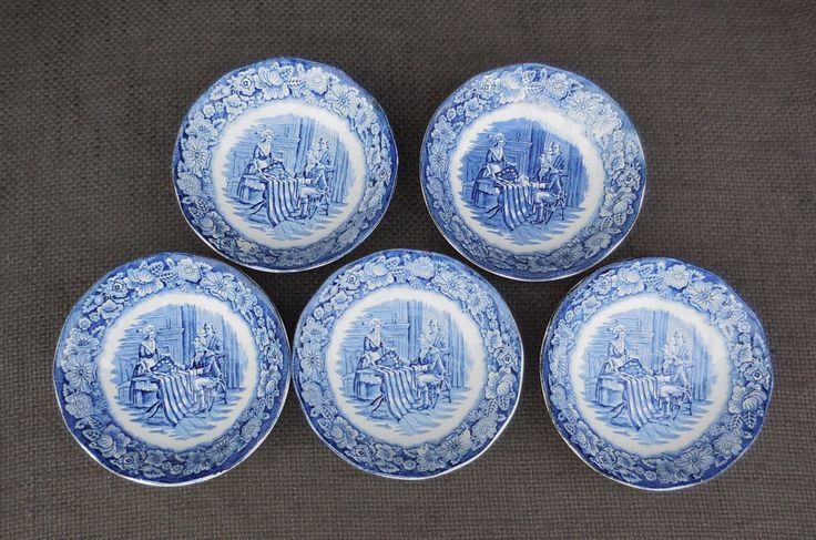 5 Vintage WEDGWOOD Ironstone LIBERTY BLUE Bowls..Betsy Ross Historic Colonial Scenes..Franklin Federal Savings & Loan Promo Retro Americana! by SlimandSugar on Etsy