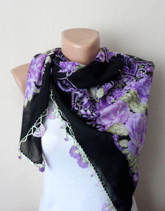 black scarf green flower lavender white lilac cotton scarf