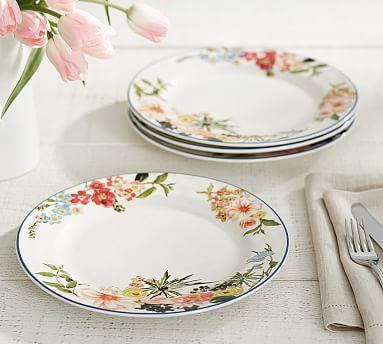 Floral Rim Dinner Plate, Set of 4 #potterybarn