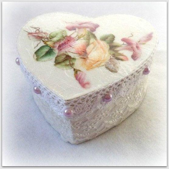 Caja de recuerdo de decoupage, caja, caja de joyería, caja de encaje de estilo vintage, caja de joyería, caja de regalo, decoración casera de la novia