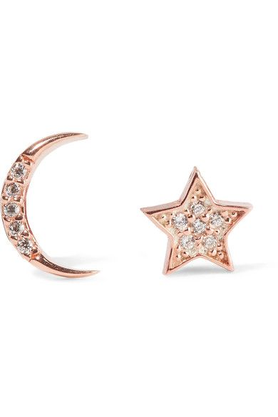 Aamaya By Priyanka | Moon and Star rose-gold plated topaz earrings | NET-A-PORTER.COM