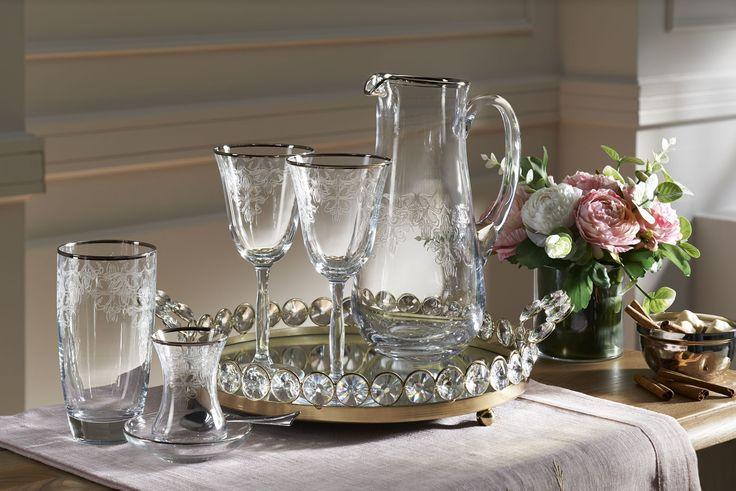 Craft 25 Parça Kadeh Seti / Silver Glass SET #bernardo #tabledesign