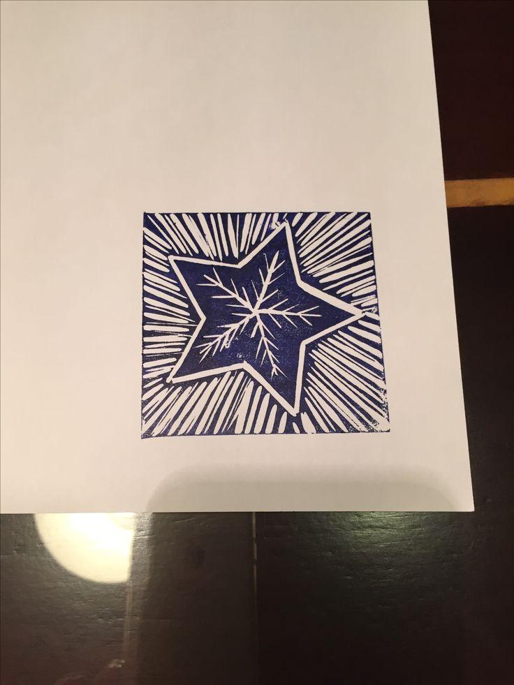 Linoprint star Christmas card
