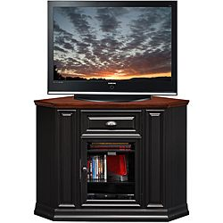 @Overstock - This Corner TV Console settles your TV back into the corner and reclaims valuable floorspace. Finished in a two-tone black and cherry with aged metalware accents, it is solidly built from solid wood and wood veneers.  http://www.overstock.com/Home-Garden/Black-Cherry-46-inch-Corner-TV-Stand-Media-Console/6694740/product.html?CID=214117 $389.99