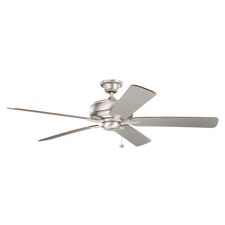 "Kichler 330249 60"" Indoor Ceiling Fan with Blades Downrod and Pull Chain Brushed Nickel Fans Ceiling Fans Indoor Ceiling Fans"