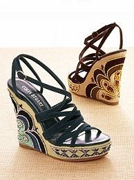 embroidered wedge sandals: Sandals I, Fashion, Embroidered Wedges, Wedge Sandals, Sandals Originals, Wedges Sandals Lov, Sandalslov, Shoes Addiction, Wedges Sandals Tribal