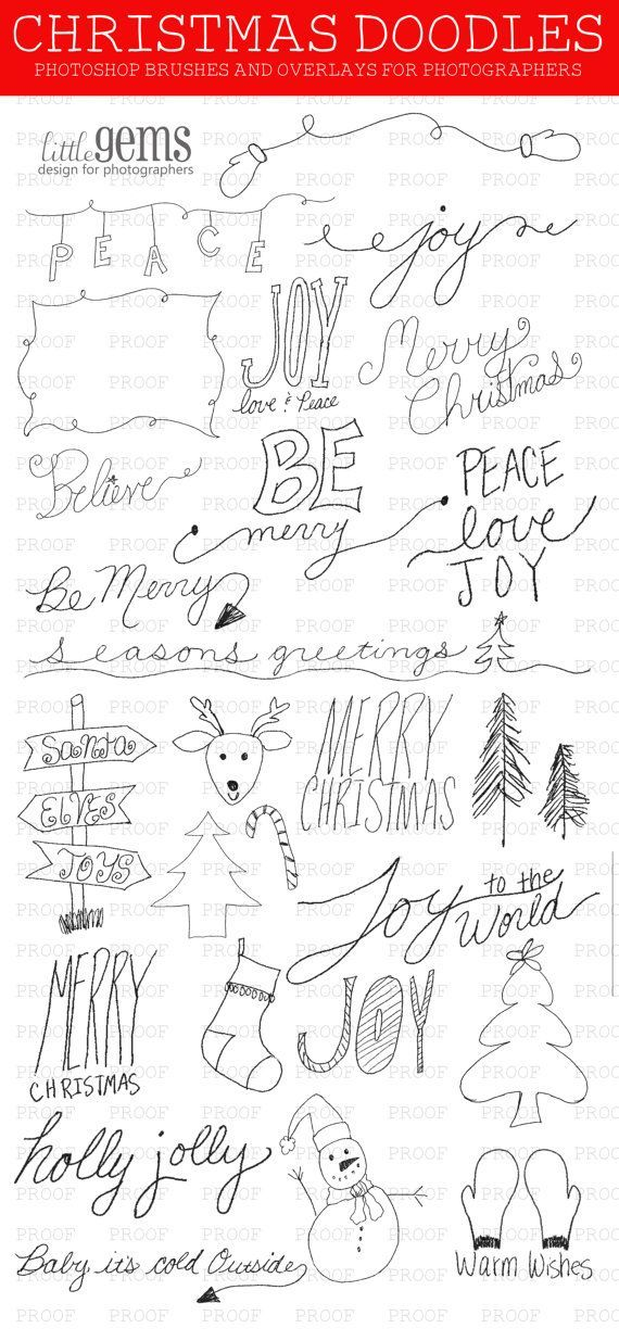 Christmas Doodles Photoshop Brushes / Overlays for Photographers / Word Art / Clip Art / Digital Stamps / Digital Scrapbooking/ Chalkboard