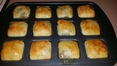 Mini Runzas in the Pampered Chef brownie pan... 2 lbs hamburger 1 meduim onion chopped 1 / 2 cabbage chopped Salt and pepper to taste 1 can cream of mushroom soup ( optional ) Brown hamburger using mix n chop, drain most of the juice but leave a little in the pan. Add onion and cabbage to meat and cook until tender Salt and pepper to taste Add small can of cream of mushroom soup Rhodes rolls, grands biscuits, or crescent rolls can be used for the dough Rhodes rolls are the best In a muffin…
