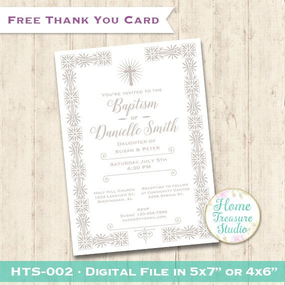 12 best baptism invitations images on pinterest christening baptism invitation printable free thank you card white classic baptism invite christening stopboris Images