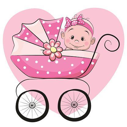 Bonito desenho de menina de bebê - ilustração de arte em vetor