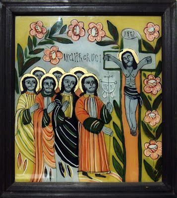 Închinarea Sfintei Cruci, icoană pe sticlă, 38x43 cm pictată de Mihai Macri - Atelierul de arhitectură Liliana Chiaburu: ortodoxie