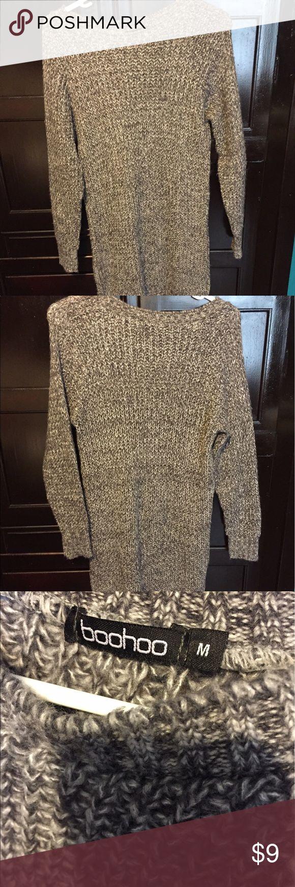 Grey Long Sleeve Sweater Dress Never worn - great condition! Boohoo Dresses Long Sleeve