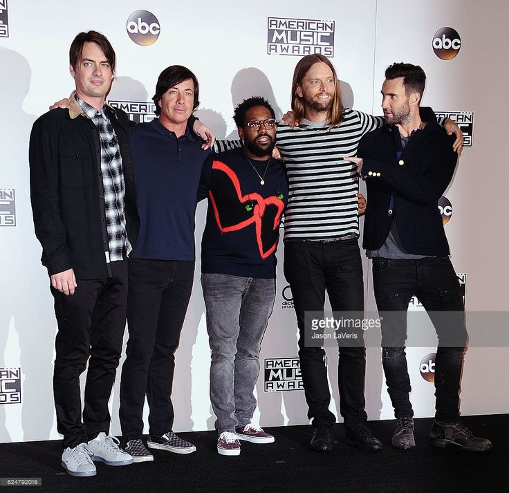 Musicians Mickey Madden, Matt Flynn, PJ Morton, James Valentine and Adam Levine of Maroon 5 pose in the press room at the 2016 American Music Awards at Microsoft Theater on November 20, 2016 in Los Angeles, California.