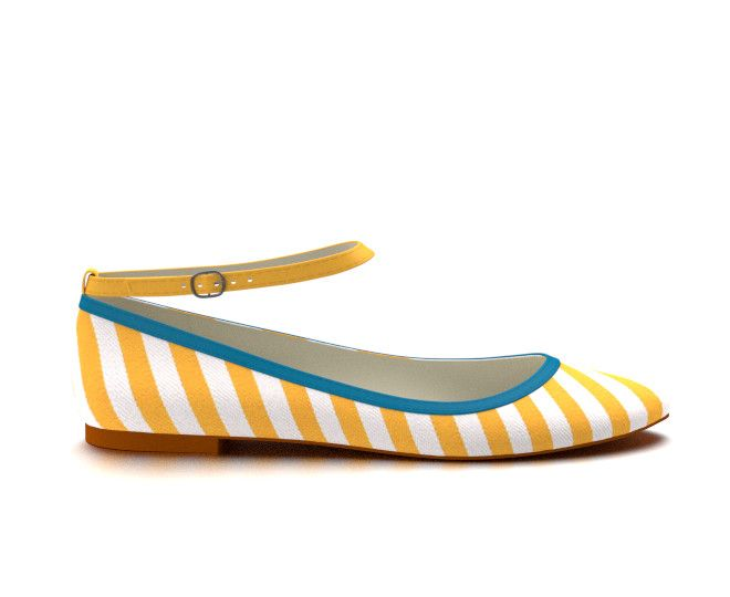 Yellow and white striped ballet flat with blue accent. As this flat is fabric instead of leather, it looks very casual. The blue gives it a nice pop.
