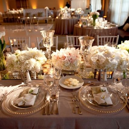 Table scape wedding ceremony decor pinterest table for Glass tables for wedding reception