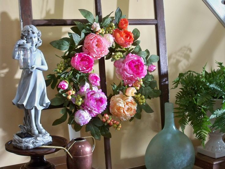 This peony wreath is bursting with spring colors. H199000 http://qvc.co/-Shop-ValerieParrHill