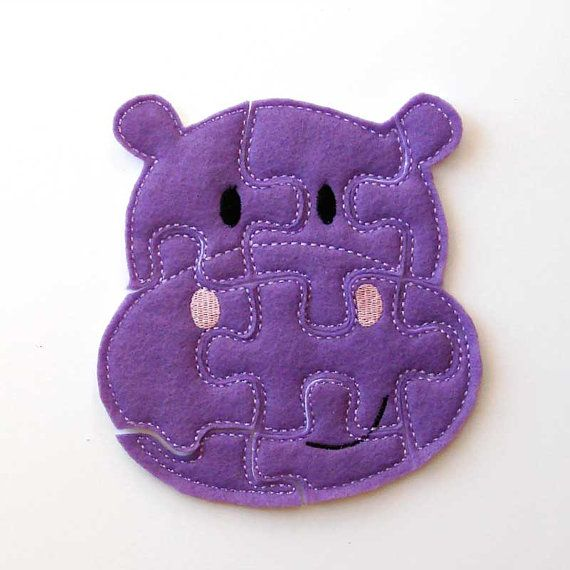 Kids Puzzle - Hippo - Felt Puzzle - Toddler - Soft Puzzles - Educational Toy - Puzzle Game for Kids