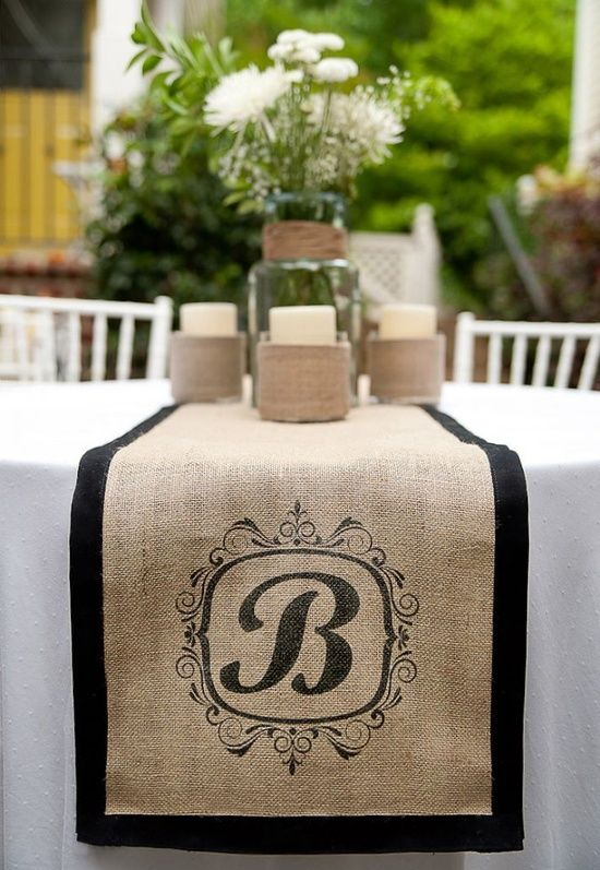 Burlap monogram table runner. Instead of black, I would substitute it with my colors.