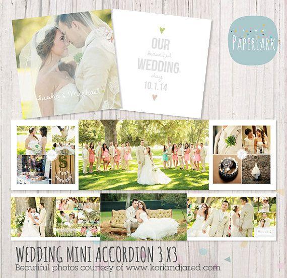 Hochzeit Album Akkordeon Mini - 3 x 3 cm-Photoshop-Vorlage - FN003 - INSTANT DOWNLOAD